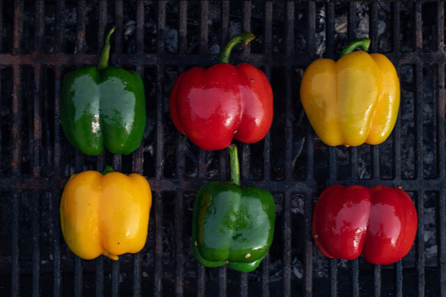 Bell Peppers on the grill at All Vegan Foods