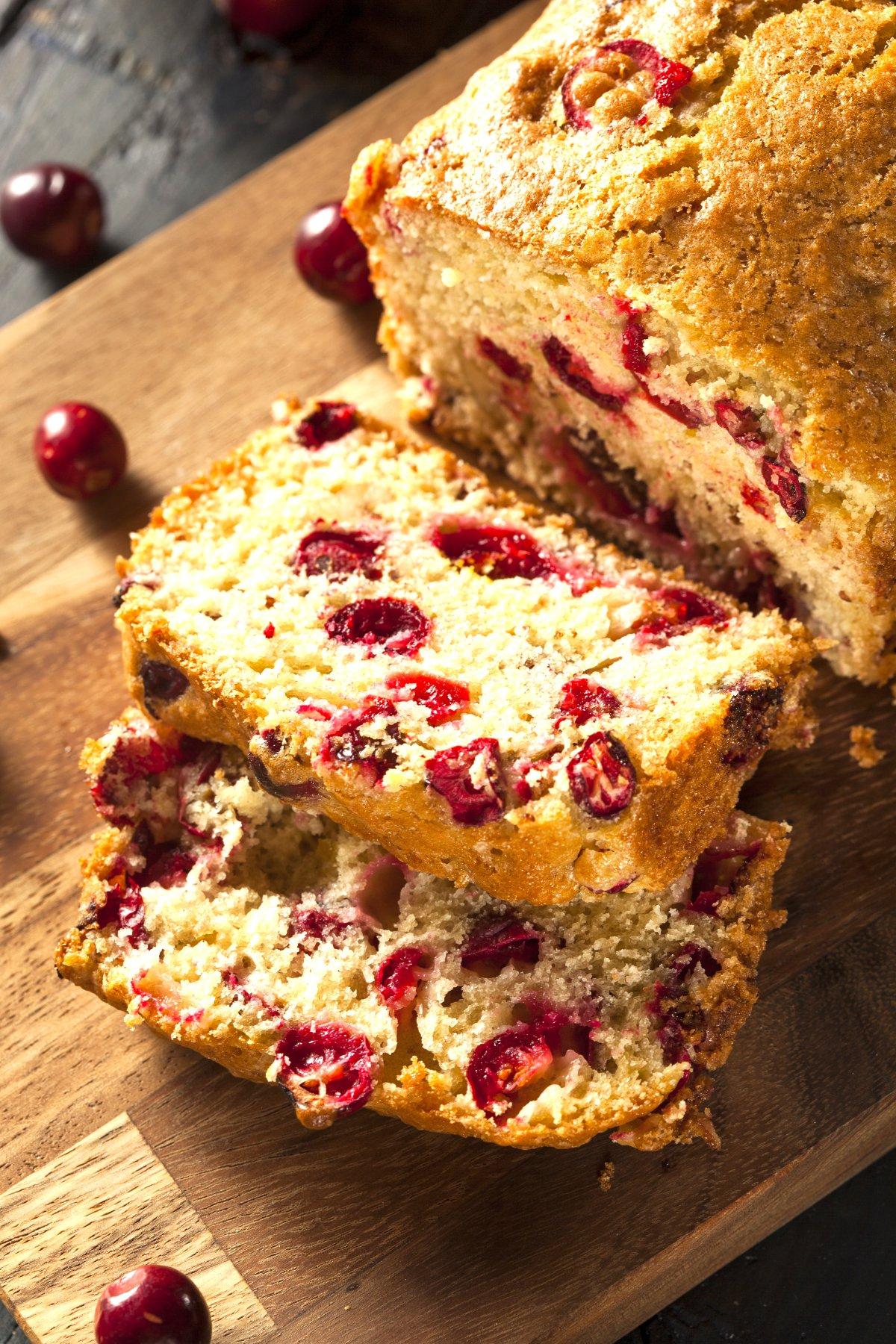 Vegan orange cranberry bread with fresh cranberries